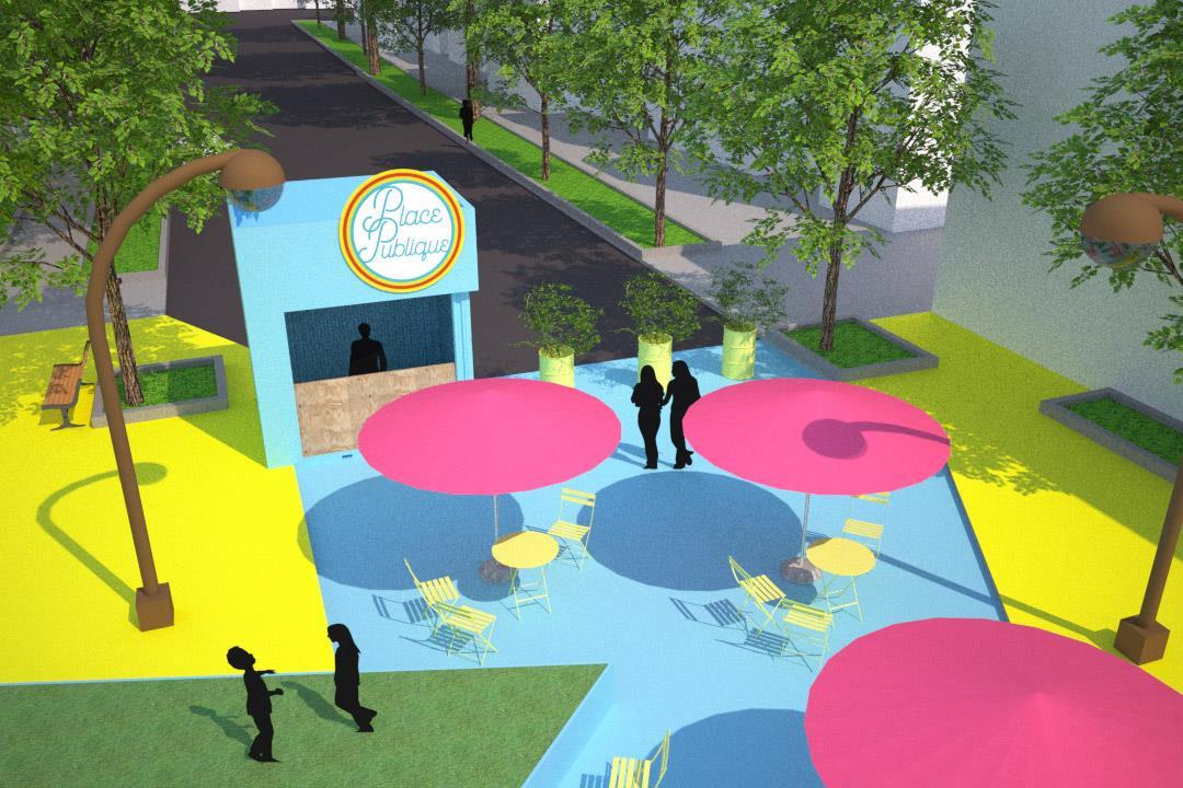 Modélisation 3D de la Plaza Limoilou. Crédit : ExMuro Arts Publics