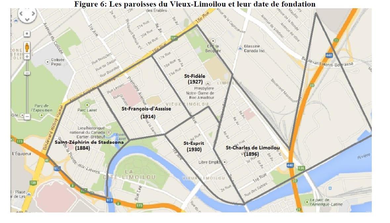 Carte des quartiers de Limoilou