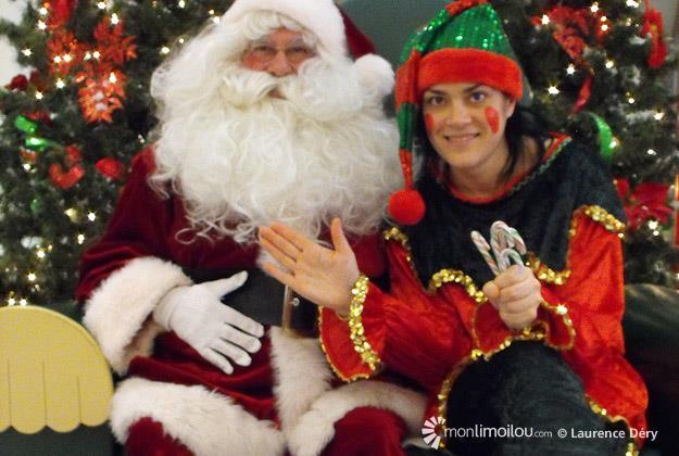 Père Noël et Lutin Étincelle. Ci-dessous, mon entrevue avec le père Noël immortalisée par Véronique Auger, des Galeries de la Canardière.
