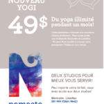 1 mois illimité pour 49,99$ - Namaste Yoga Limoilou