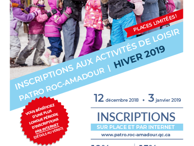 Inscriptions aux activités d'hiver du Patro Roc-Amadour