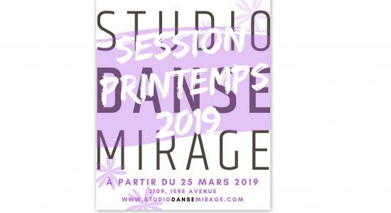 Cours de danse pour la Session de printemps au Studio Danse Mirage – Début des cours: 25 mars