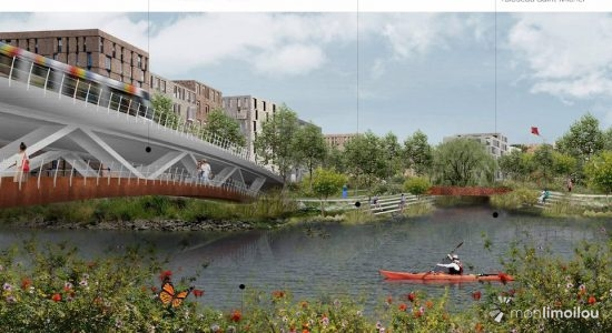 Le pont autoroutier au-dessus de la rivière Saint-Charles ferait notamment place à un ouvrage d'art convivial où tous les modes de transport seraient présents.