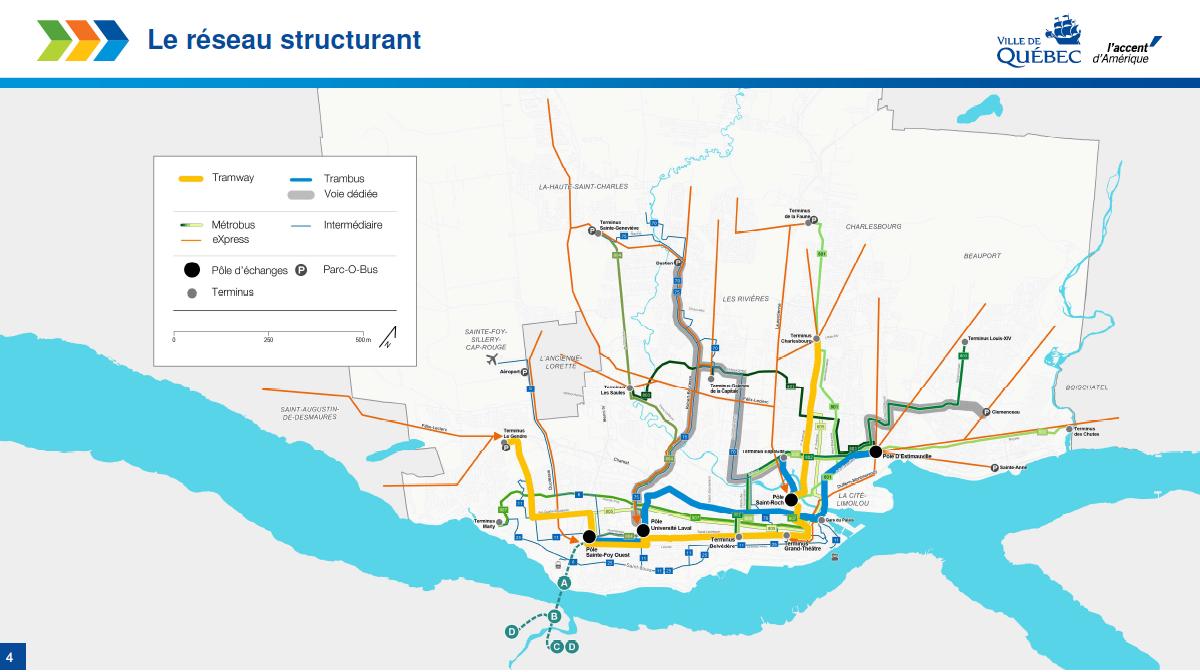 Carte du réseau structurant de transport pour Québec
