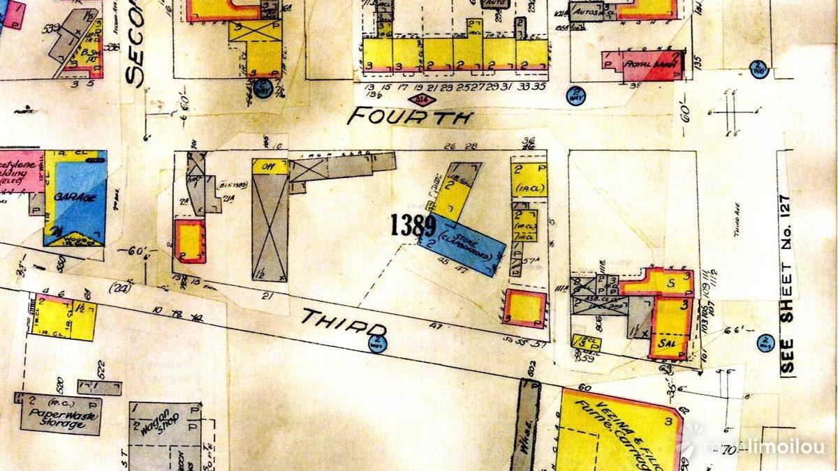 Le plan de 1912 indiquant les bâtiments alors situés sur le site des fouilles.