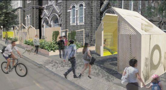 À l'image de la ruelle dont il porte le nom, le portail d'entrée apparaît comme «ce passage privilégié vers le SPOT 2018, lieu de découverte, intime mais rassembleur, où se rencontrent chats, voisins et amis» (B Architecture et Jean-Pierre Morin).