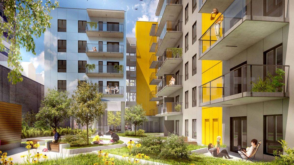Un toit vert - perspective. La forme en L du bâtiment permet notamment la création d'une cour intérieure végétalisée.