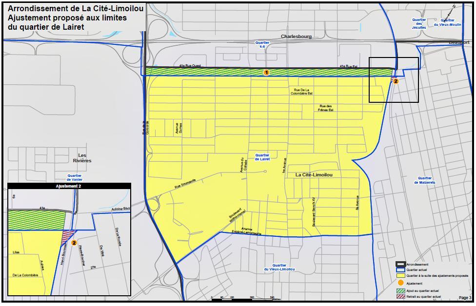Carte des modifications aux limites du quartier