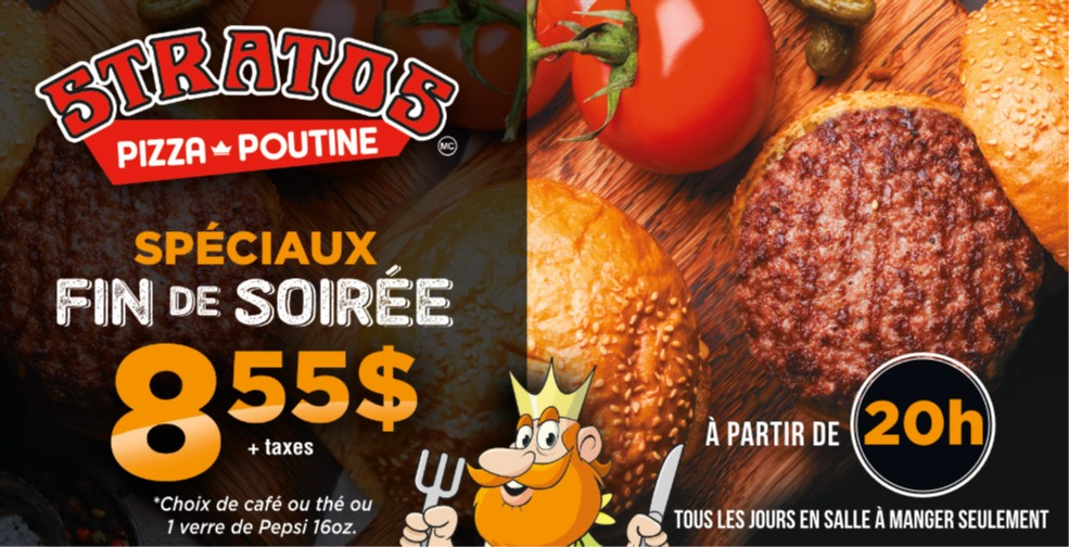 Les spéciaux fin de soirée de Stratos | Stratos Pizzeria