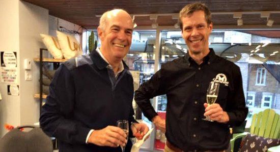 Le 100e anniversaire de Juneau & Frère en octobre dernier. Richard Juneau, petit-fils d'Arthur, et Serge Fortin.