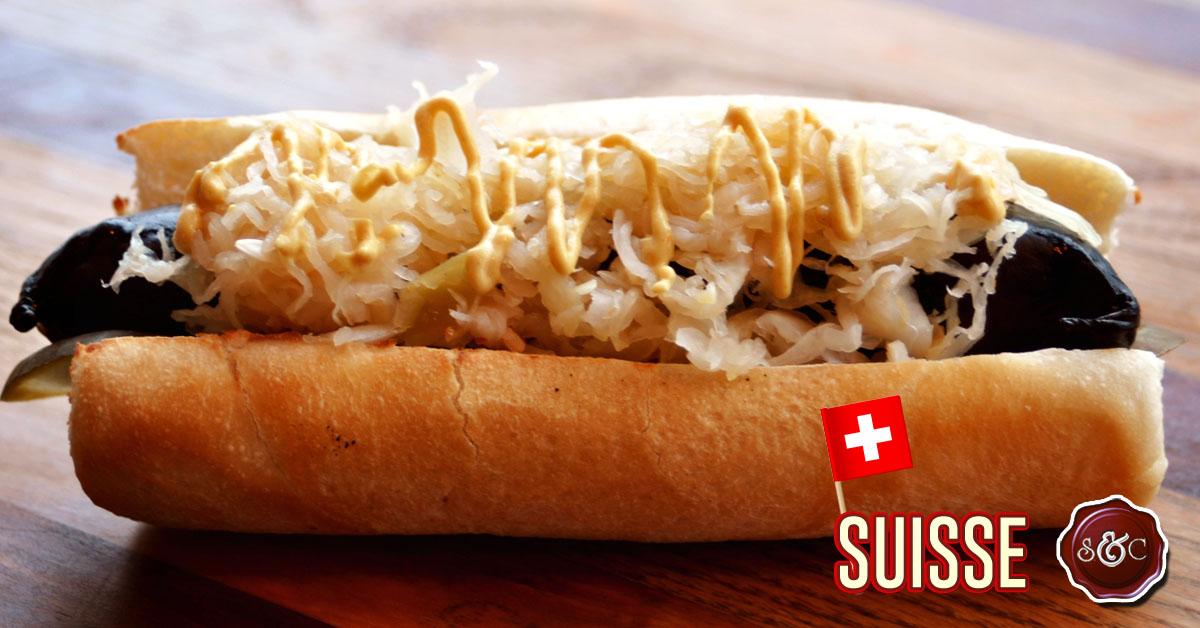 Hot-dog gourmet européen : Le SUISSE | Saucisses et Complices