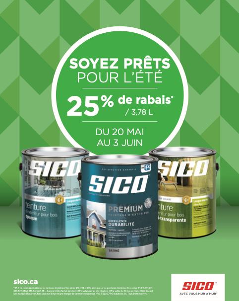 -25% sur les gallons de peinture et teinture pour l'extérieur Sico | Juneau