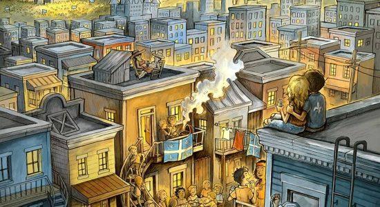 «La Blonde d'Abraham», illustration de la bière officielle de la fête Nationale 2019 (collectif de brasseurs du Québec). Dessin au graphite, coloration numérique, 2019.