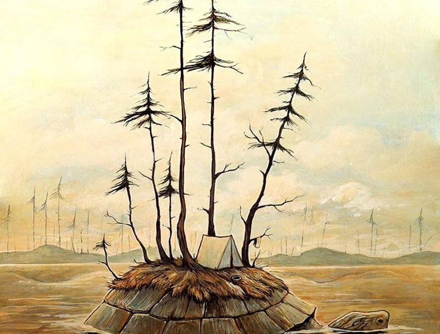 «Turtle Island», peinture acrylique sur bois, 2016.