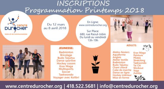 Inscriptions | Programmation printemps 2018