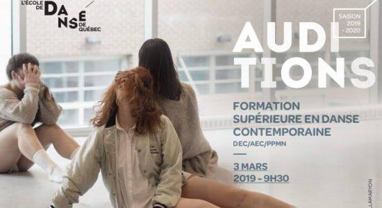 Auditions de la formation supérieure en danse contemporaine