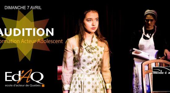 Audition Acteur Adolescent 2019