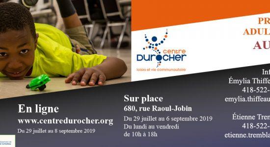 Programmation Automne 2019 du Centre Durocher