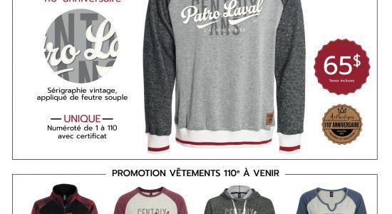 Chandails numérotés «110 ans»   Patro Laval