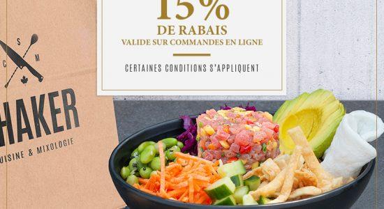 15% Take-outs | SHAKER St-Joseph – Cuisine & Mixologie