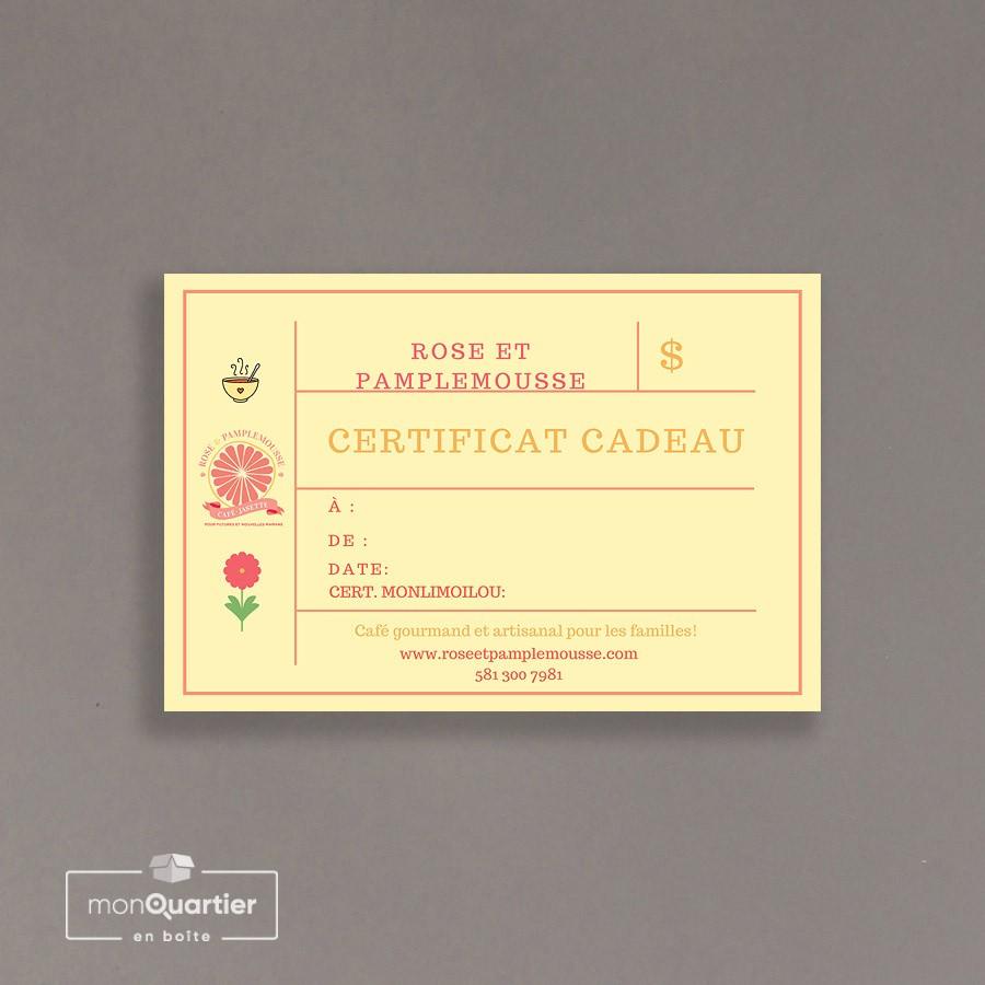 Certificat cadeau Rose et Pamplemousse