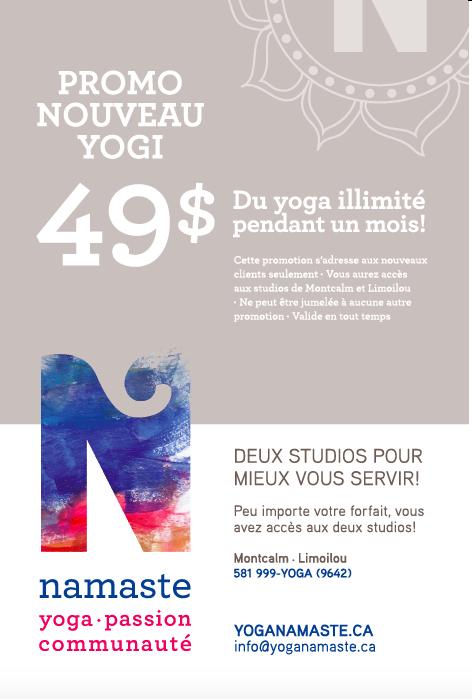 1 mois illimité pour 49,99$ | Namaste Yoga Limoilou