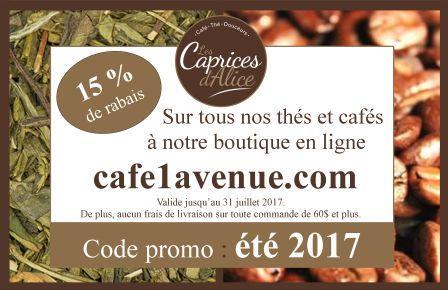 Promo boutique en ligne | Caprices d'Alice (Les) – Café Castelo 1re Avenue