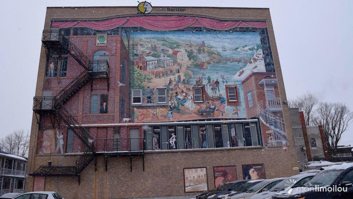 Fresque réalisée sur le mur est du Centre Horizon.