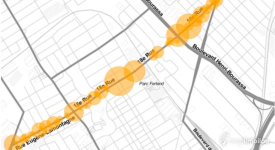 Géolocalisation des lieux d'accidents et nombre de véhicules impliqués dans l'axe 18e Rue-Eugène-Lamontagne, entre 2011 et 2016