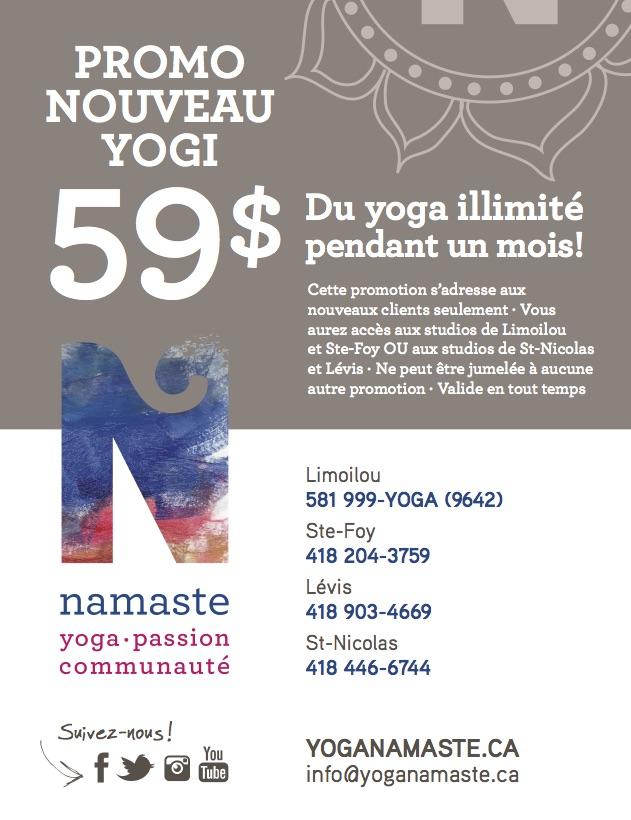 Premier mois à 59$ | Namaste Yoga Limoilou