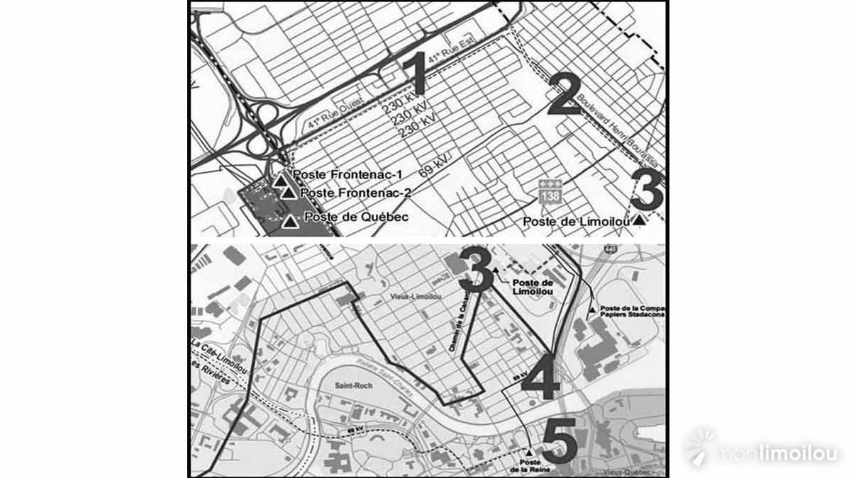 Cartes des travaux de démantèlement d'Hydro-Québec.