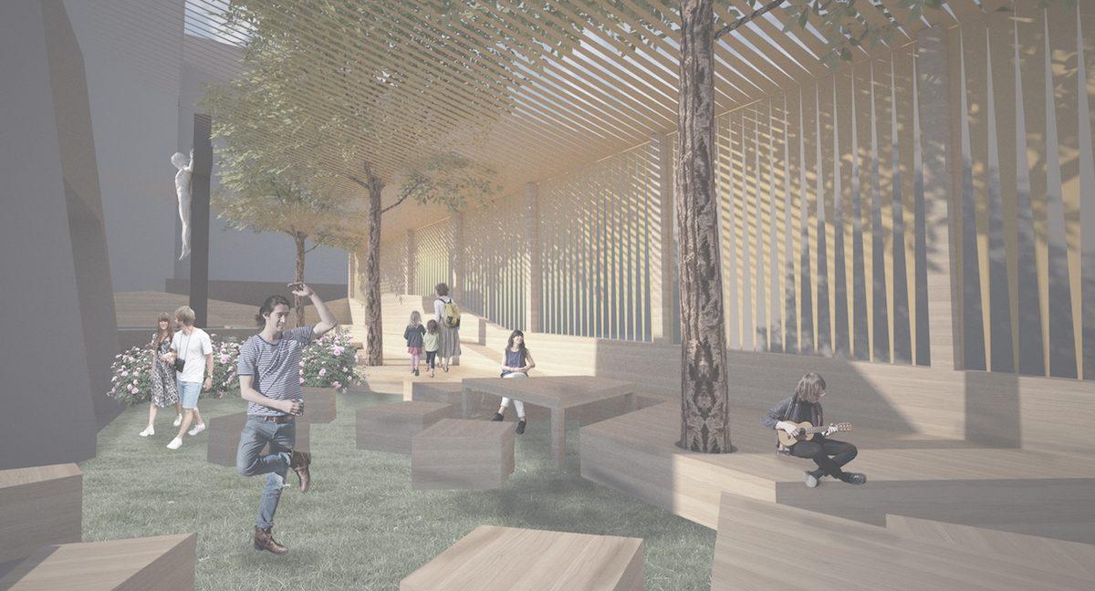 Sous la voûte des arbres et des bandelettes, un long banc d'église enlace l'espace du lounge «Sella» (Boon Architecture et Atelier Filz).