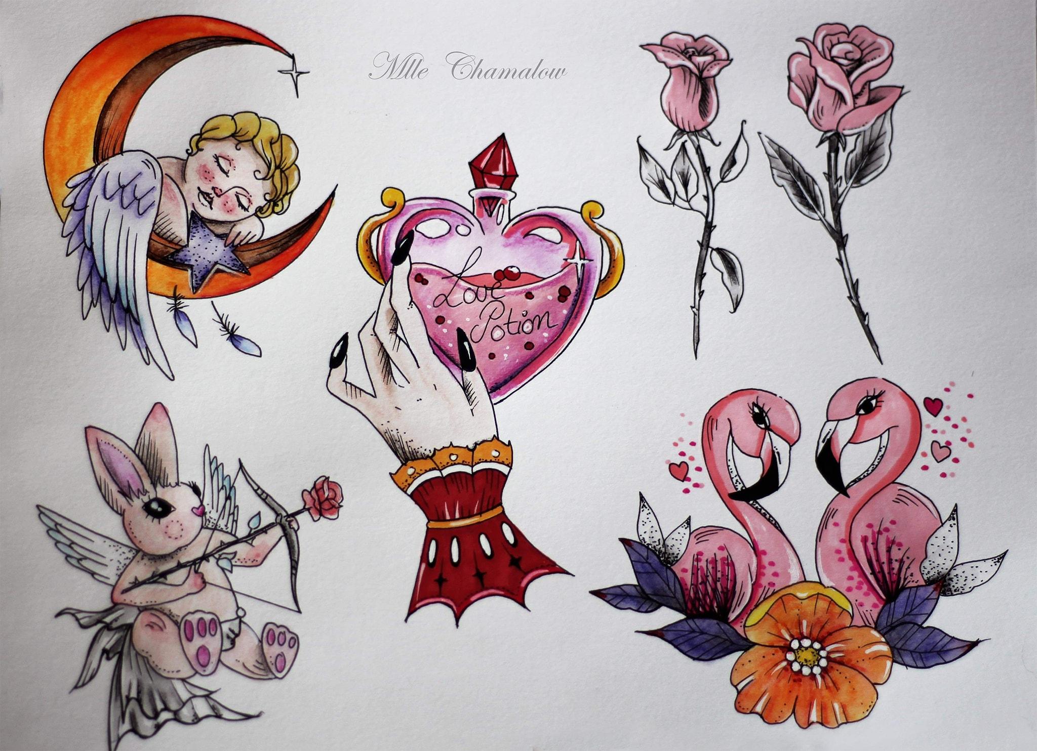 Promotion sur les tatouages flashs pour la Saint-Valentin | Ancre noire tatouage