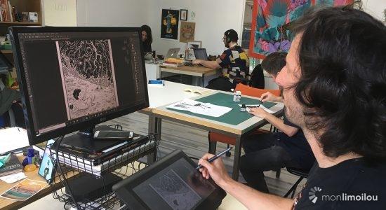 À l'atelier de BD La Forge, chacun occupe son espace à sa façon.