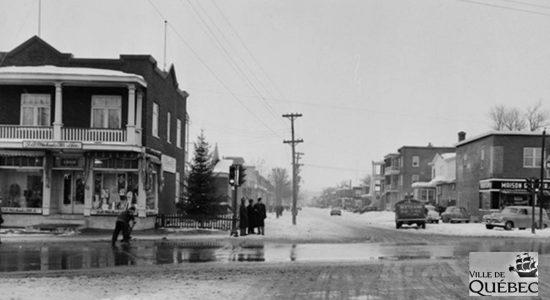 Intersection chemin de la Canardière et avenue Champfleury, le 27 janvier 1954