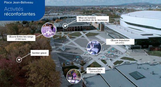Trois œuvres lumineuses interactives ainsi qu'un sentier de glace animeront la Place Jean-Béliveau, à Expo-Cité.