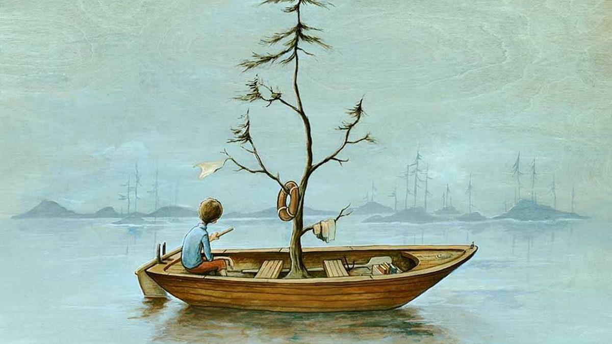 «La Chaloupe», peinture acrylique sur bois, 2015.