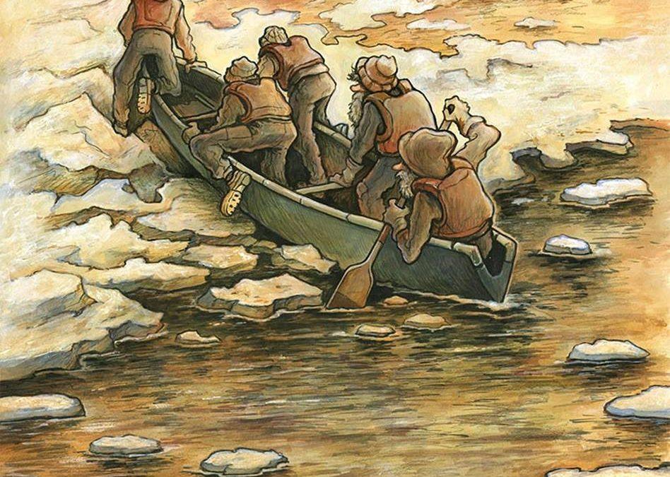 «Les Canotiers », peinture acrylique et encre pigmenté sur papier aquarelle, 2020. Illustration de la bière Les Canotiers brassée par La Souche.