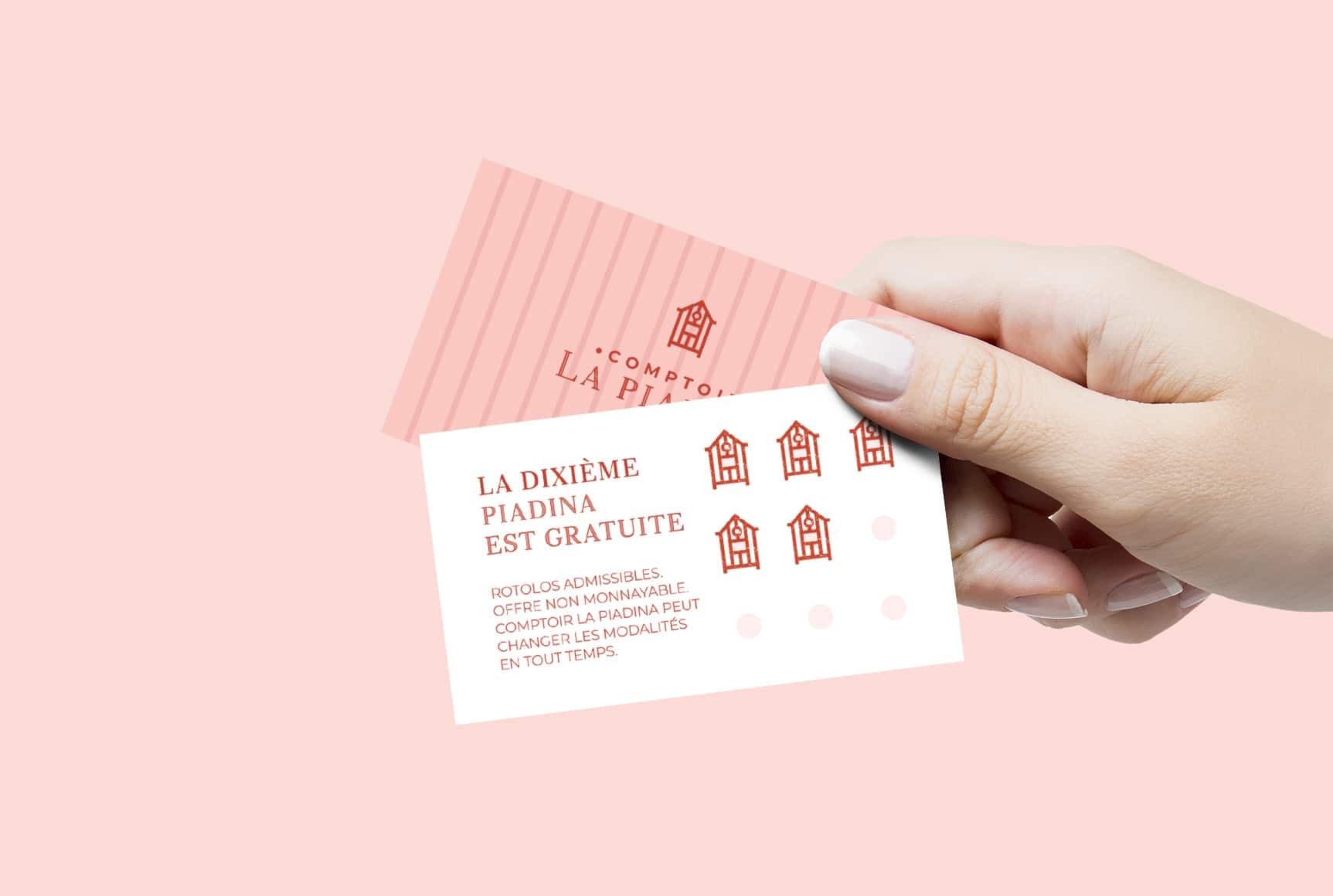 La carte fidélité qui vous offre une piadina gratuite! | Comptoir La Piadina