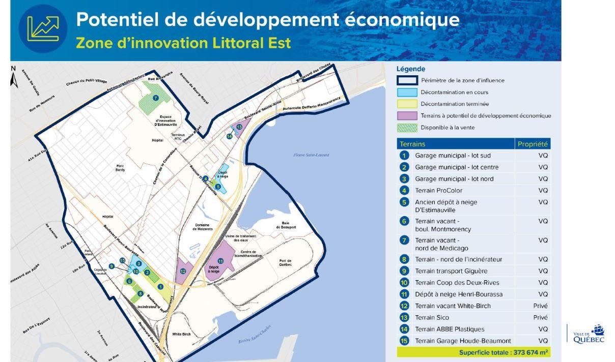 La carte la future Zone d'innovation Littoral Est.