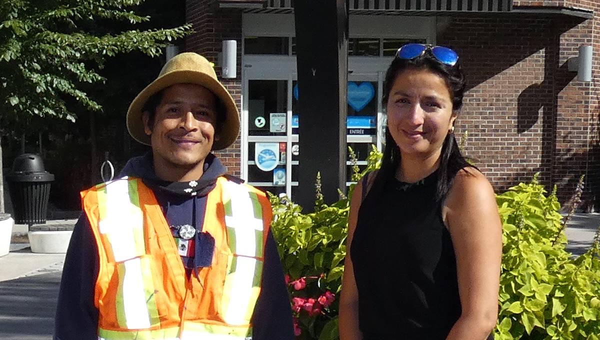 Juan Manuel Velazquez Lopez et Isabel Madrid, directrice générale de la SDC 3e Avenue, à la place Limouloise.