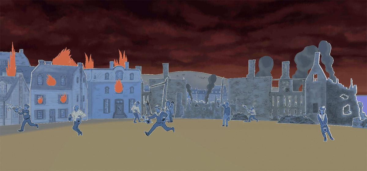 Scène en BD d'incendie à Hedleyville