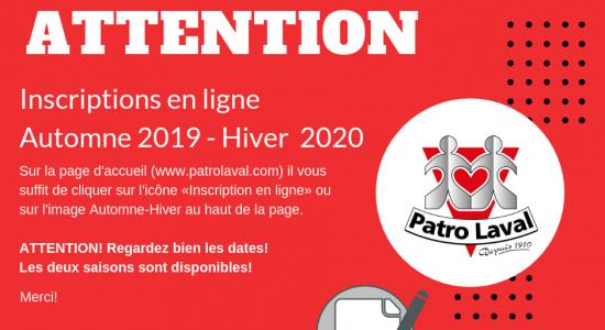 Inscriptions aux activités Automne 2019 et Hiver 2020