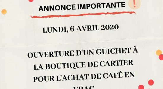Achat de café en vrac | Ouverture d'un guichet à la boutique | Café Castelo Maison de torréfaction