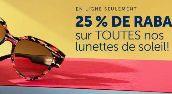 25 % de rabais sur TOUTES nos lunettes de soleil | Lunetterie New Look